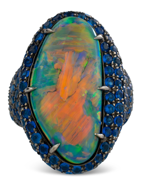 Black Opal and Hauynite Ring-1