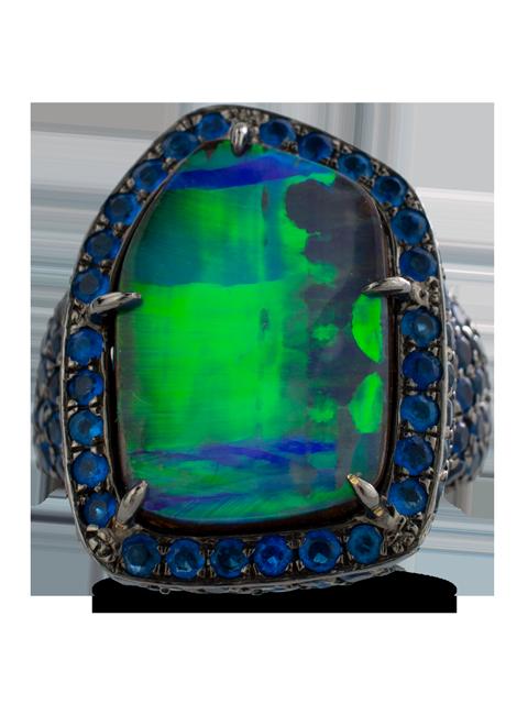 Boulder Opal & Hauynite Ring-1