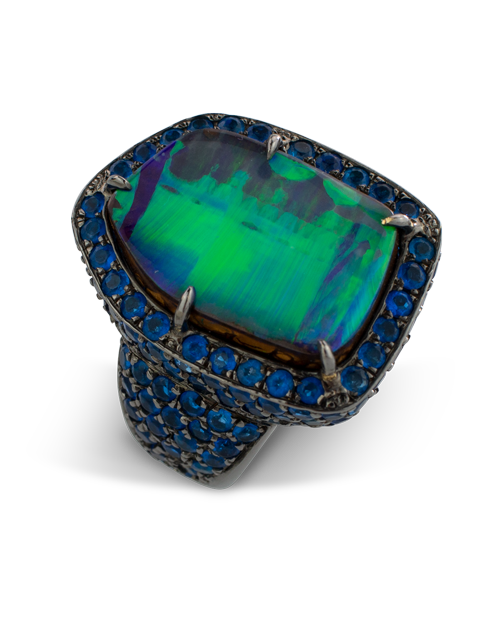 Boulder Opal & Hauynite Ring-2