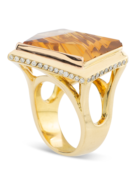 Citrine & Diamond Ring-2