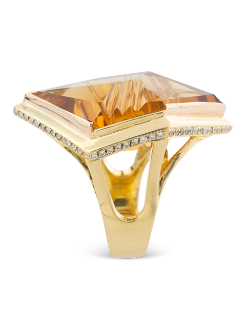 Citrine & Diamond Ring-3