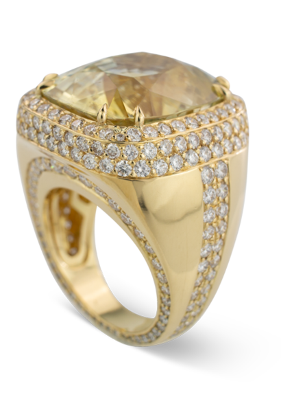 Pale Yellow Sapphire and Diamond Ring