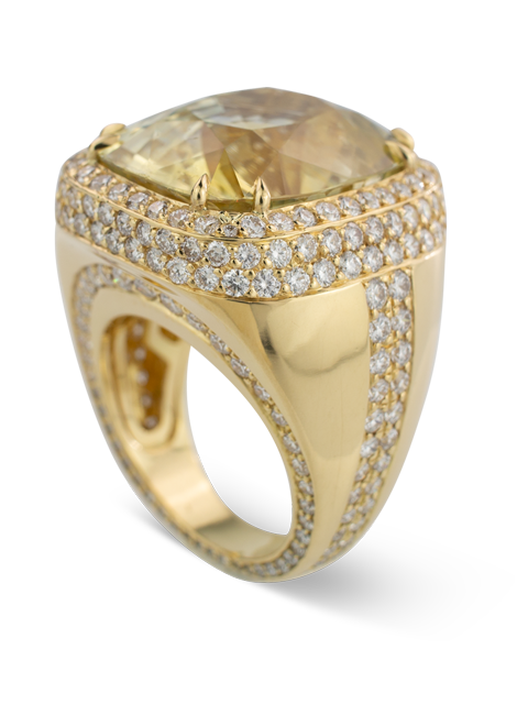 Pale Yellow Sapphire and Diamond Ring-1