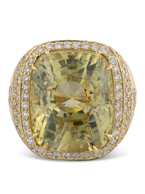 Pale Yellow Sapphire and Diamond Ring-2
