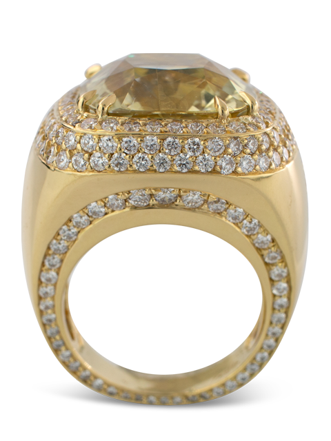 Pale Yellow Sapphire and Diamond Ring-3