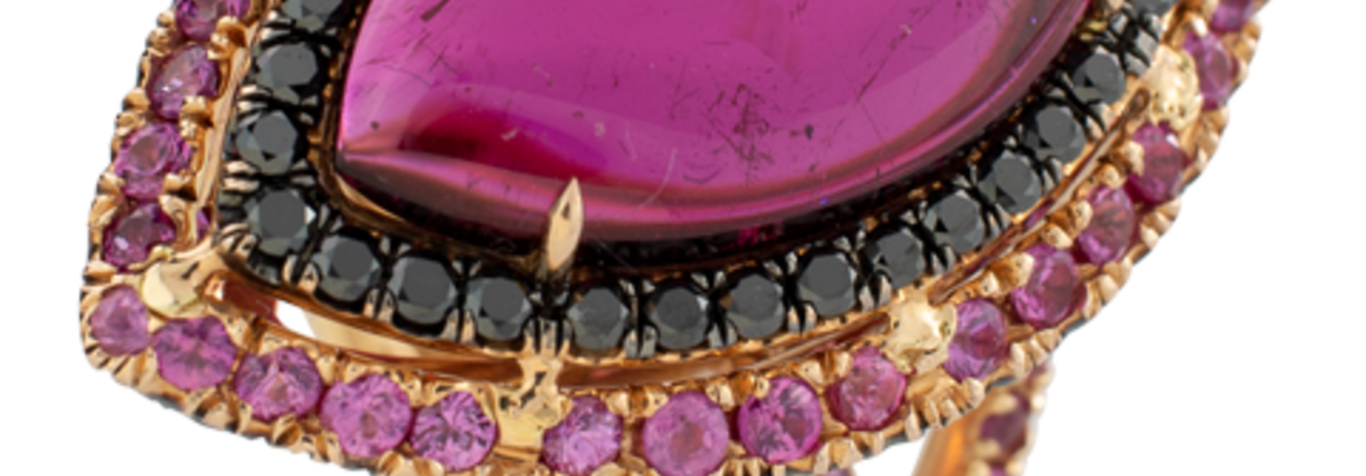 Rubelite and Black Diamond Ring