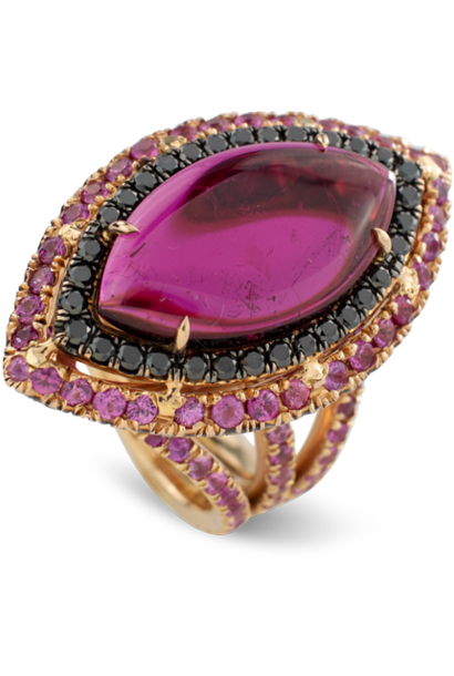 Rubelite and Black Diamond Ring