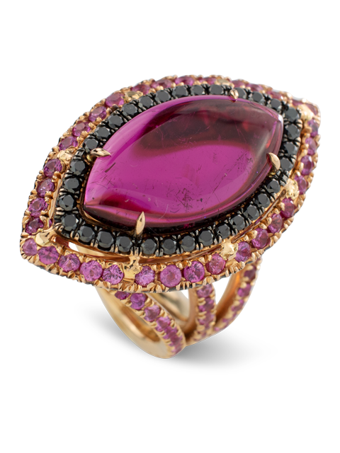 Rubelite and Black Diamond Ring-1