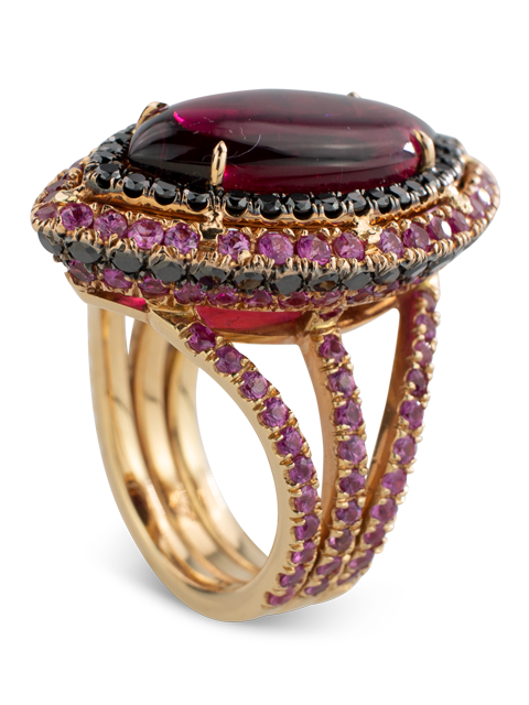 Rubelite and Black Diamond Ring-3