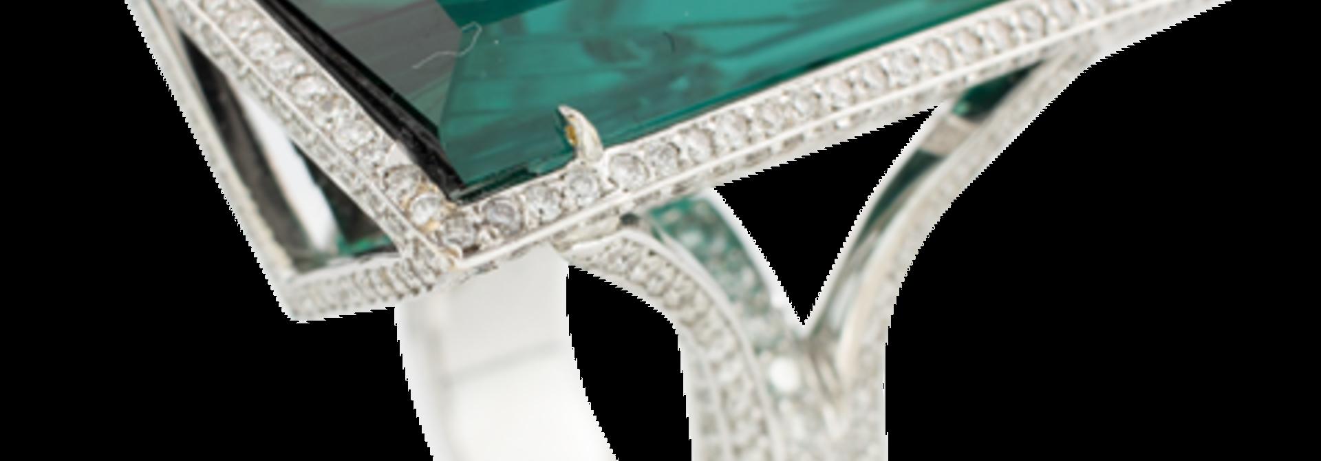 Indicolite Tourmaline & Diamond Ring