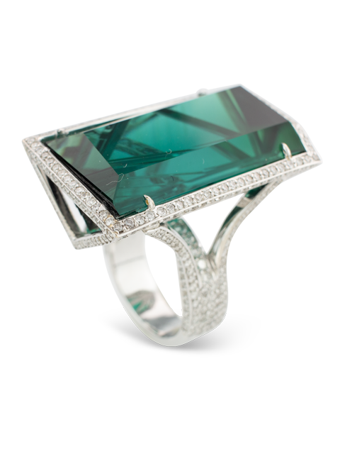 Indicolite Tourmaline & Diamond Ring-1