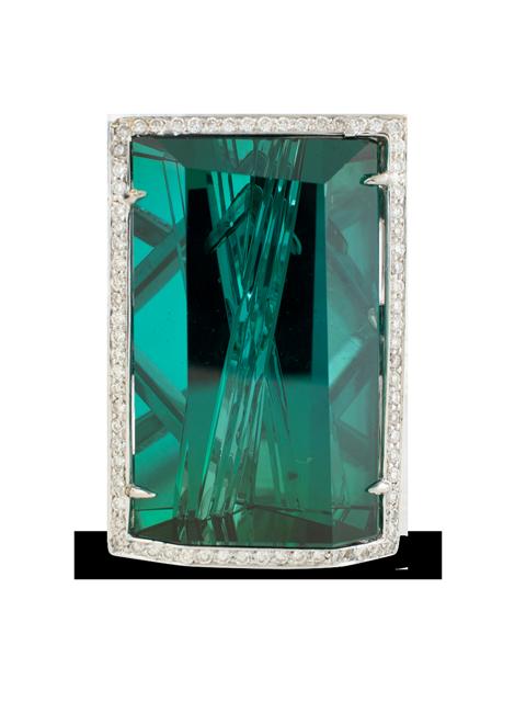 Indicolite Tourmaline & Diamond Ring-2