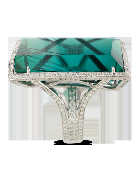 Indicolite Tourmaline & Diamond Ring-3