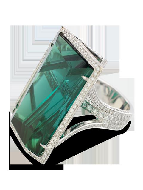 Indicolite Tourmaline & Diamond Ring-4