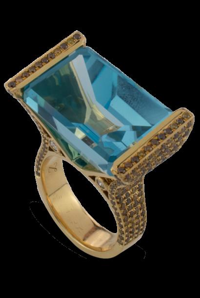 Blue Topaz with Diamond Ring