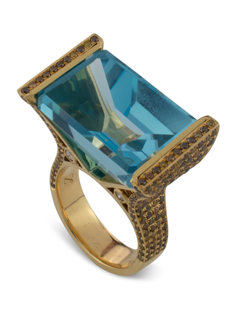 Blue Topaz with Diamond Ring-1
