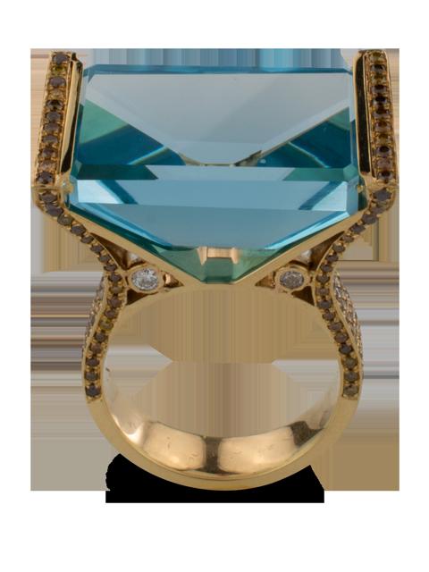 Blue Topaz with Diamond Ring-2