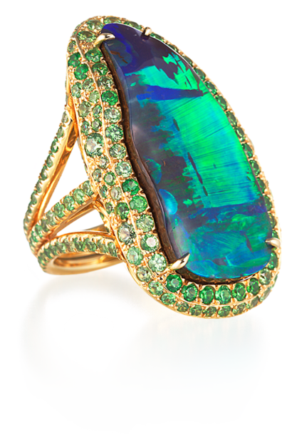Boulder Opal and Demantoid Garnet Ring