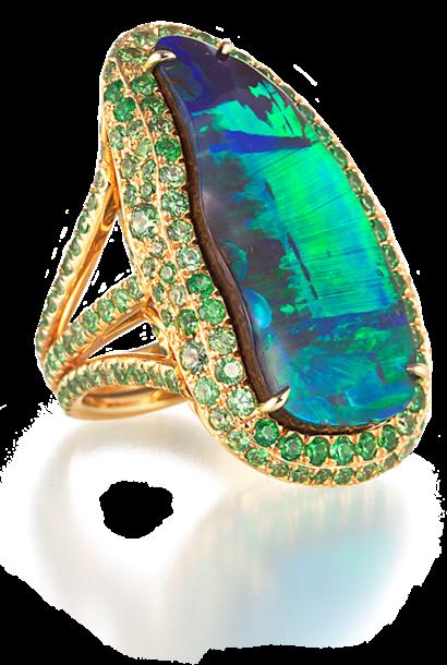 Boulder Opal Ring with Demantoid Garnets
