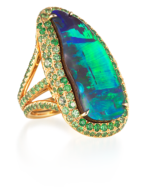 Boulder Opal and Demantoid Garnet Ring-1