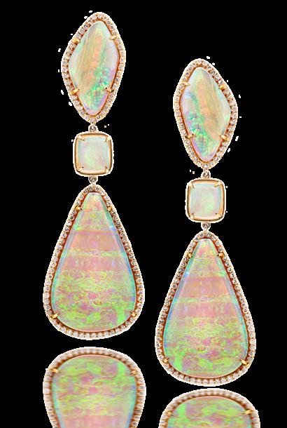 White Crystal Opal Earrings