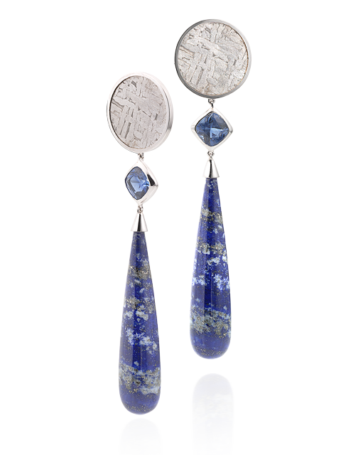 Lapis, Kyanite & Meteorite Earrings-1