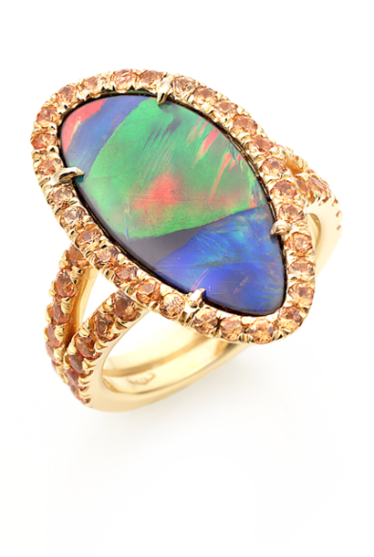 Black Opal & Orange Sapphire Ring