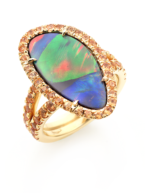 Black Opal & Orange Sapphire Ring-1