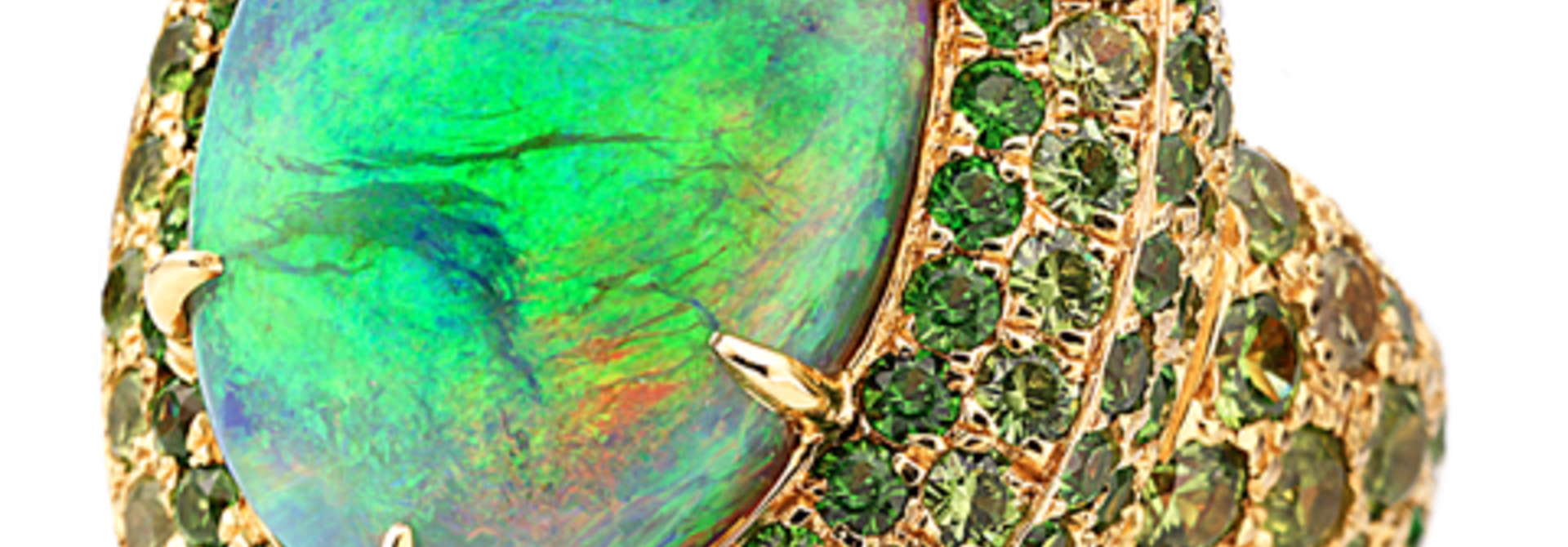 Crystal Opal & Demantoid Garnet Ring