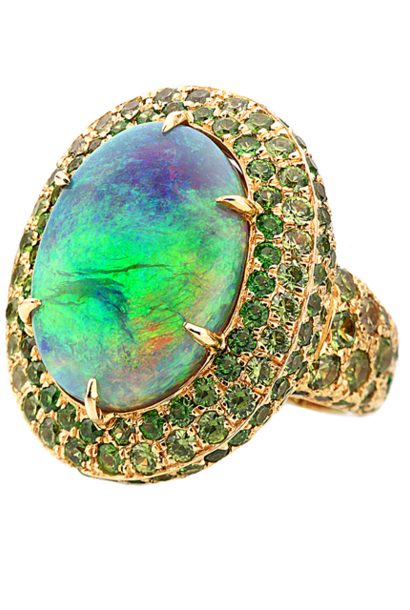 Crystal Opal & Demantoid Garnet Ring