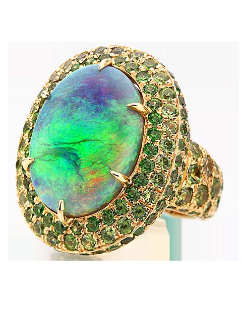 Crystal Opal & Demantoid Garnet Ring-1
