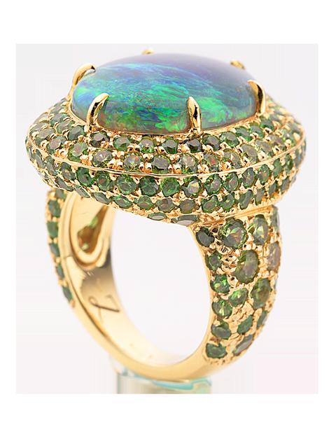 Crystal Opal & Demantoid Garnet Ring-2