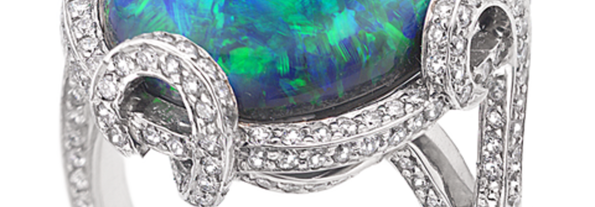 Black Opal & Diamond Ring