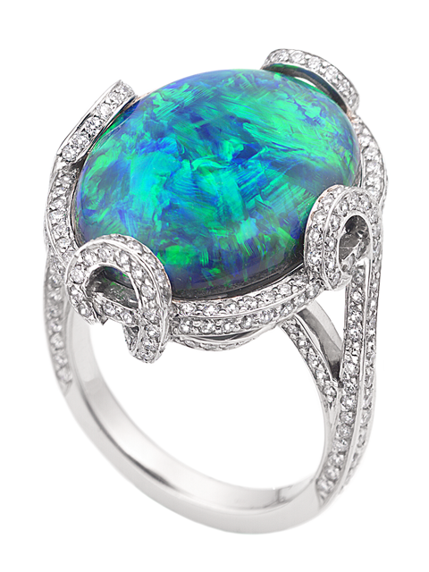 Black Opal & Diamond Ring-1