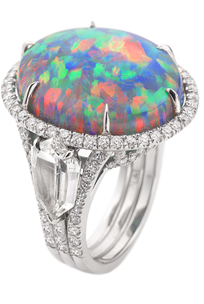 Black Opal and Diamond Ring