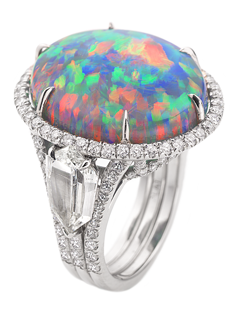 Black Opal and Diamond Ring-1