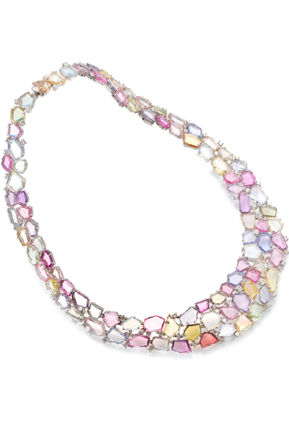 Flat-Cut Multi-Color Sapphire Collar Necklace