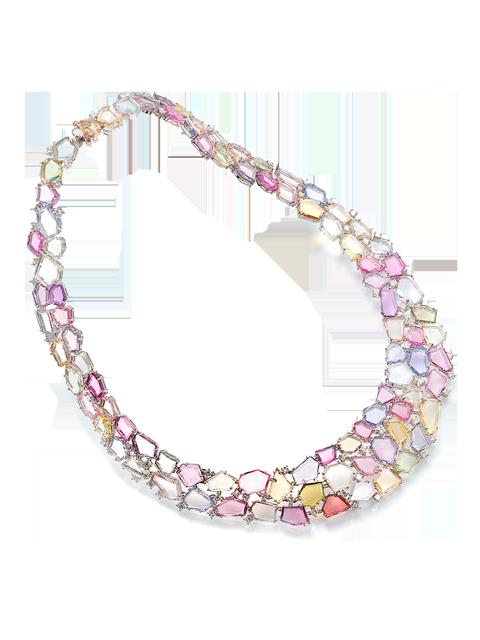 Flat-Cut Multi-Color Sapphire Collar Necklace-1