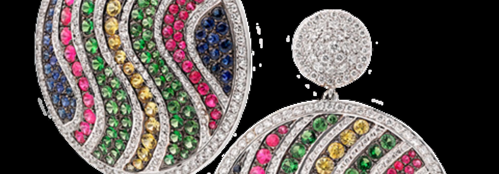 White Diamond, Multi-Color Sapphire & Tsavorite Pave Disc Earrings