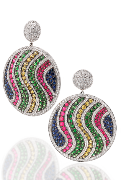 White Diamond, Multi-Color Sapphire & Tsavorite Garnet Pave Disc Earrings