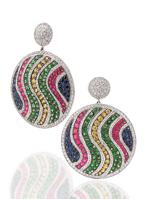 White Diamond, Multi-Color Sapphire & Tsavorite Pave Disc Earrings-1