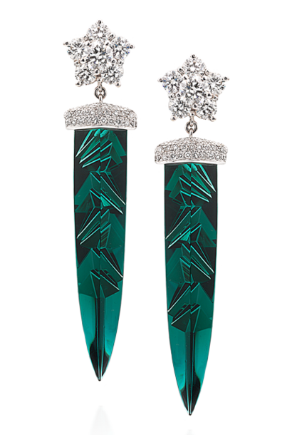 Indicolite Tourmaline & Diamond Earrings