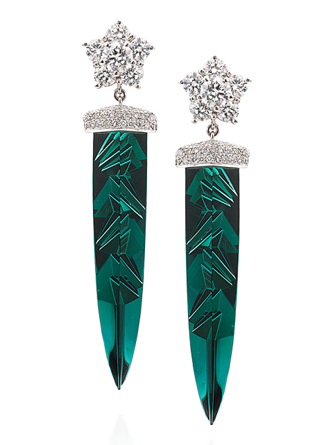 Indicolite Tourmaline & Diamond Earrings-1