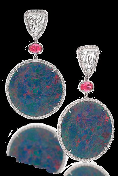 Black Opal Disc, Spinel & Diamond Earrings
