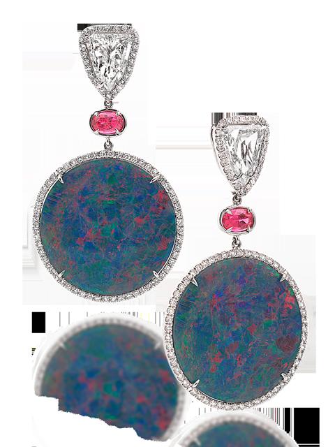 Black Opal Disc, Spinel & Diamond Earrings-1