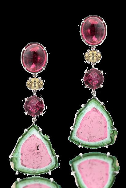 Watermelon Tourmaline Slice, Rubellite & Demantoid Garnet Earrings