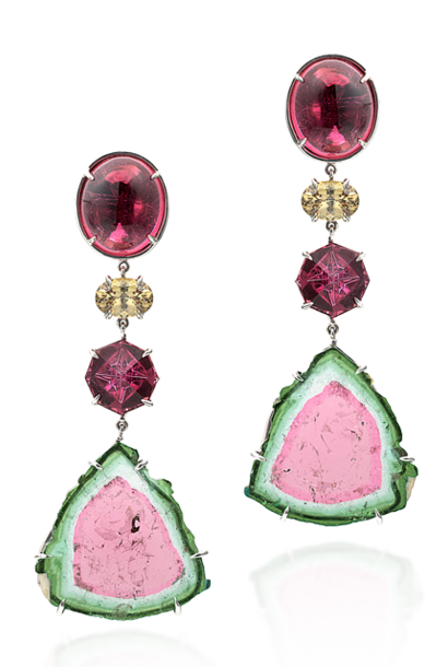 Watermelon Tourmaline Slice, Rubellite & Demantoid Garnet Earrings