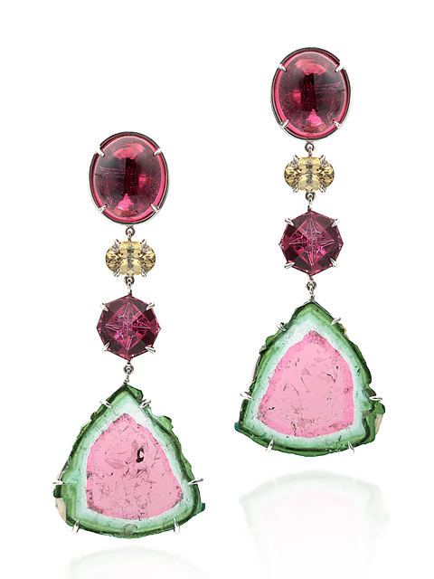 Watermelon Tourmaline Slice, Rubellite & Demantoid Garnet Earrings-1