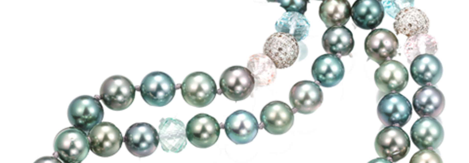Tahitian Pearl, Aquamarine, Beryl & Morganite Necklace - 45""