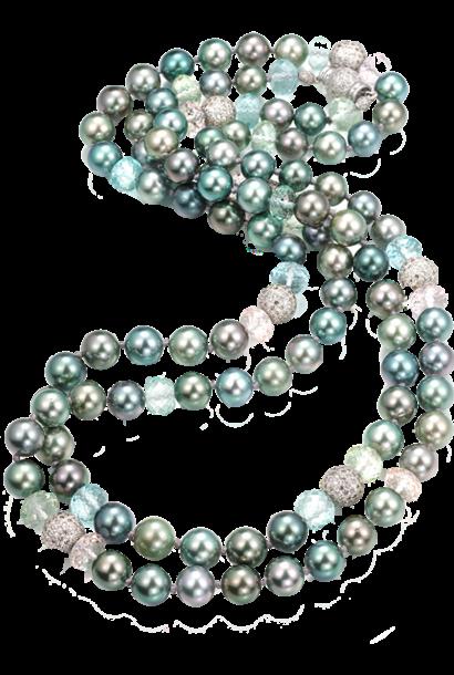 """Tahitian Pearl, Aquamarine, Beryl & Morganite Necklace - 45"""""""